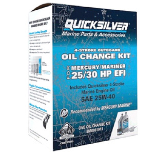 Quicksilver 4-Stroke 25W40 Oil Change Kit for Mercury/Mariner 25/30 HP EFI