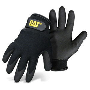 Black-Lined Gloves with Nylon Coated Palm, Large