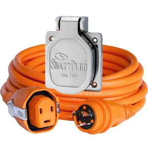50' Dual Configuration Cordset & Stainless Steel Inlet, 30A, Orange