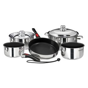 Professional Series Gourmet Nesting 10-Piece Stainless Steel Induction Cookware Set with Ceramica® Non-Stick
