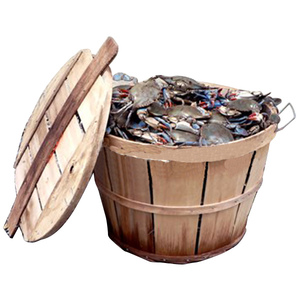 Wood Crab Bushel Basket with Lid