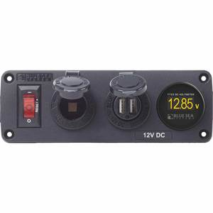 Panel BelowDeck 12V DC Socket USB & Voltmeter