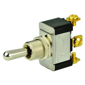Chrome Plated Toggle Switch, (On)/Off/(On), SPDT