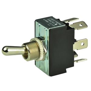 Chrome Plated Toggle Switch, On/Off/(On), DPDT