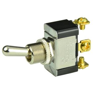 Chrome Plated Toggle Switch, On/Off/(On), SPDT