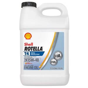 15W-40 Rotella T4 Triple Protection Motor Oil, 2.5 Gallon