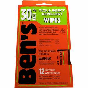 Ben's 30 Tick & Insect Repellent Wipes, 12-Pack