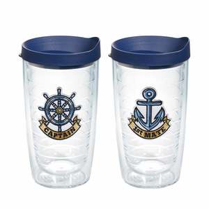 16 oz. Captain and First Mate Emblem Tumblers, 2-Pack Gift Set