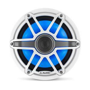 "M6-770X-S-GwGw-i 7.7"" Marine Coaxial Speakers, White Sport Grilles with RGB LED Lighting"