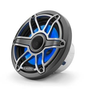 "M6-650X-S-GmTi-i 6.5"" Marine Coaxial Speakers, Gunmetal and Titanium Sport Grilles with RGB LED Lighting"