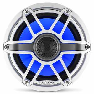 "M6-880X-S-GwGw-i 8.8"" Marine Coaxial Speakers, White Sport Grilles with RGB LED Lighting"