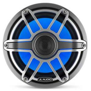 "M6-880X-S-GmTi-i 8.8"" Marine Coaxial Speakers, Gunmetal and Titanium Sport Grilles with RGB LED Lighting"