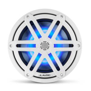 "M3-770X-S-Gw-i 7.7"" Marine Coaxial Speakers, White Sport Grilles with RGB LED Lighting"