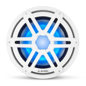 "M3-10IB-S-Gw-i-4 10"" Marine Subwoofer Driver, White Sport Grilles with RGB LED Lighting"