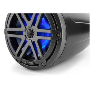 "M3-770ETXv3-Sb-S-Gm-i 7.7"" Enclosed Marine Coaxial Speaker System, Satin Black, Gunmetal Sport Grilles with RGB LED Lighting"