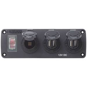 Water-Resistant Accessory Panel, 15A Circuit Breaker, 12V Socket, 2x 2.1A Dual USB Chargers