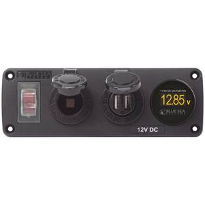 Water-Resistant Accessory Panel, Circuit Breaker, 12V Socket, Dual USB Charger, Mini Voltmeter