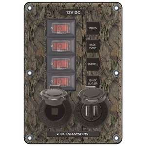 Water-Resistant Circuit Breaker Switch Panel, 4 pos. + 12 Volt Socket & Dual USB Charger