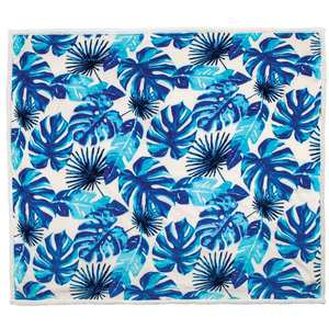 "60"" x 70"" Plush Blanket, Blue Palm Leaf"