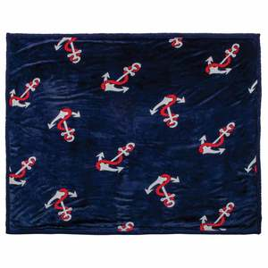 "60"" x 70"" Plush Blanket, Tossed Anchor"