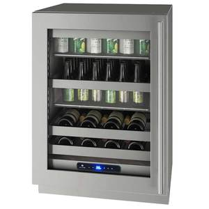 "24"" 5 Class Stainless Beverage Center with Lock, Left Hinge"