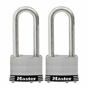 "2"" (51 mm) Wide Laminated Stainless Steel Pin Tumbler Padlock with 2-1/2"" (64 mm) Shackle, 2-Pack"