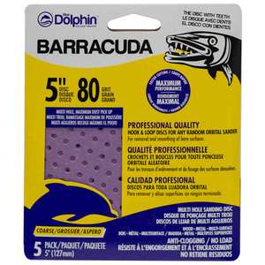 "Barracuda 5"" Pro Quality Sanding Discs, 80 Grit, 5-Pack"