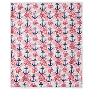 "60"" x 70"" Reversible Blanket, Coral Anchor"
