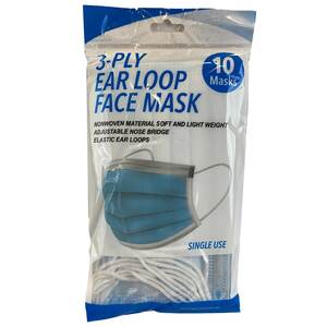 3-Ply Disposable Face Masks, 10-Pack