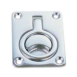 "Square Flush Ring Pull - Chromed Bronze 2 5/8"" x 2"""