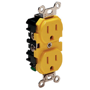 Nylon Dual Outlet Receptacle, Yellow