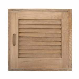 "Louvered Teak Door with Frame, 15"" x 15"""