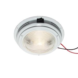 "7"" Dome Light, White Aluminum, Clear Bulbs"