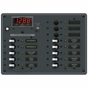 Traditional Metal DC Circuit Breaker Panel with Digital Multimeter, 13-Position