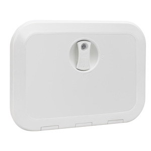 "Locking Hatch, White, External Dimensions: 14.6"" x 14.8"""