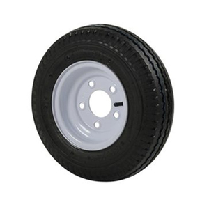 570 X 8B Bias Trailer Tire and 8 X 3 3/4 White Solid Rim, 5 X 4 1/2 Bolt Pattern
