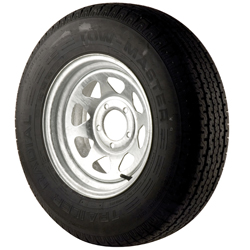 ST205/75R X 14 Radial Trailer Tire and 14 X 6 Galvanized Spoke Rim, 5 X 4 1/2 Bolt Pattern