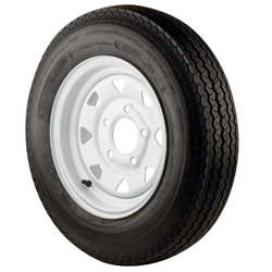 480 X 12B Bias Trailer Tire and 12 X 4 White Spoke Rim 5 X 4 1/2 Bolt Pattern