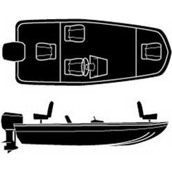 Attwood Aluminum Bass Outboard Boat Road Ready Cotton Cover, 17 6, 79 Beam, Blue