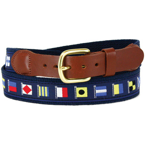 Cotton Web Belt with Blue Code Flags Motif