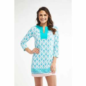 Women's 3/4 Sleeve Printed Tunic Dress