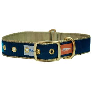 Khaki Fish Flags Dog Collars
