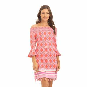 Women's Coral Geo Off the Shoulder Dress