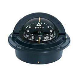 Flush-Mount Voyager Compass, CombiDamp Dial, Black