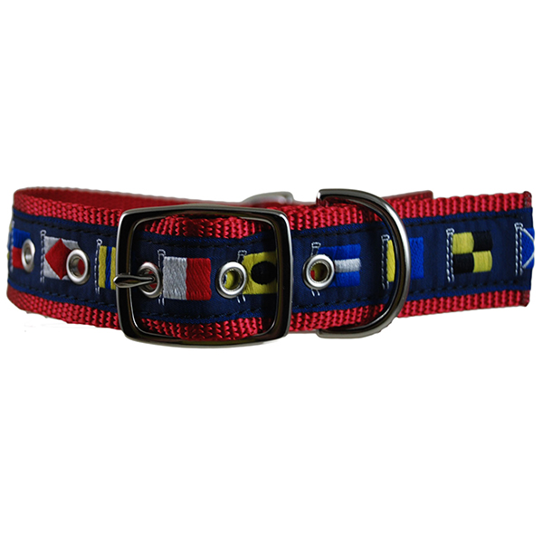 Code Flag Embroidered Dog Collar, Red/Blue, M