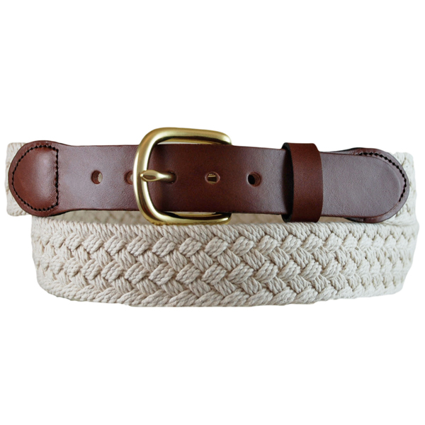 Men's Macramé Leather Tab Belt