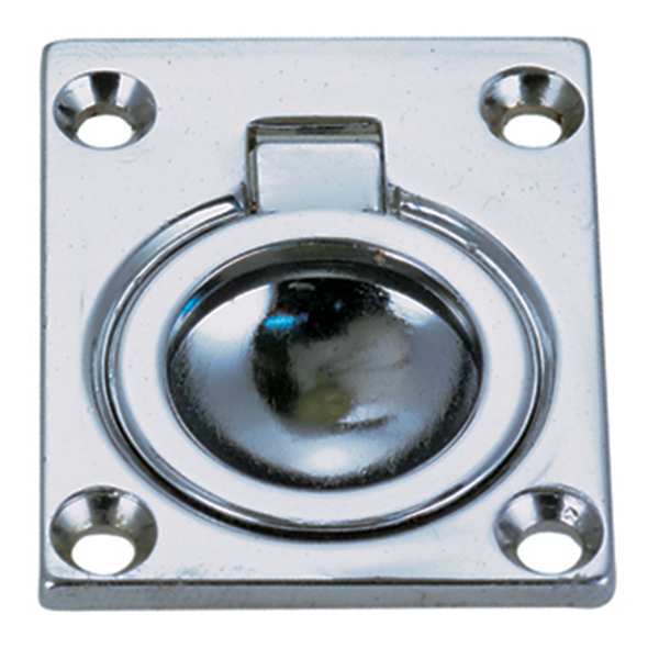 "Square Flush Ring Pull - Chromed Zinc 1 3/4"" x 1 3/8"""