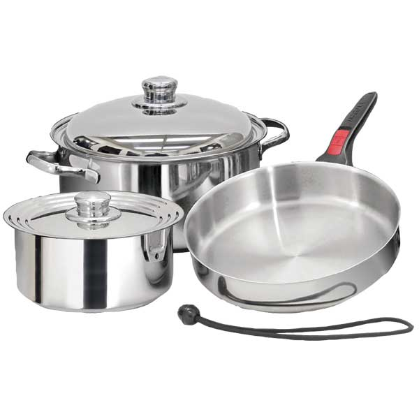 Seven-Piece Stainless-Steel Nesting Starter Cookware Set