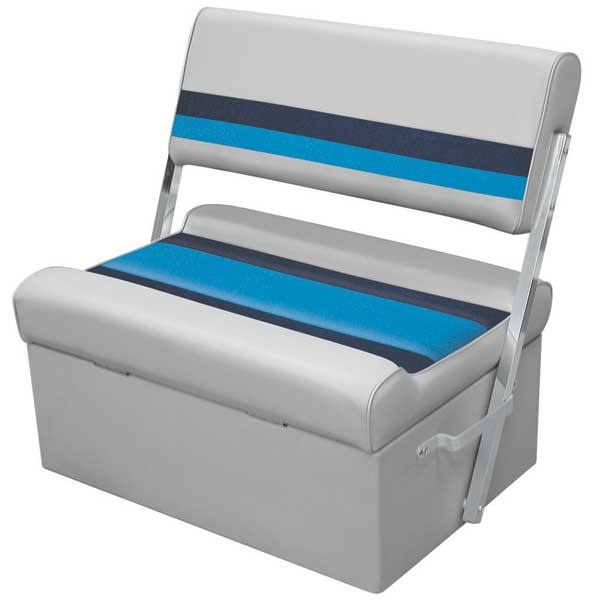 Wise Seating Deluxe Flip Flop Pontoon Bench Gray Navy