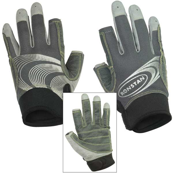 Ronstan Sticky Race Full Finger Sailing Gloves Gray - Size - Medium